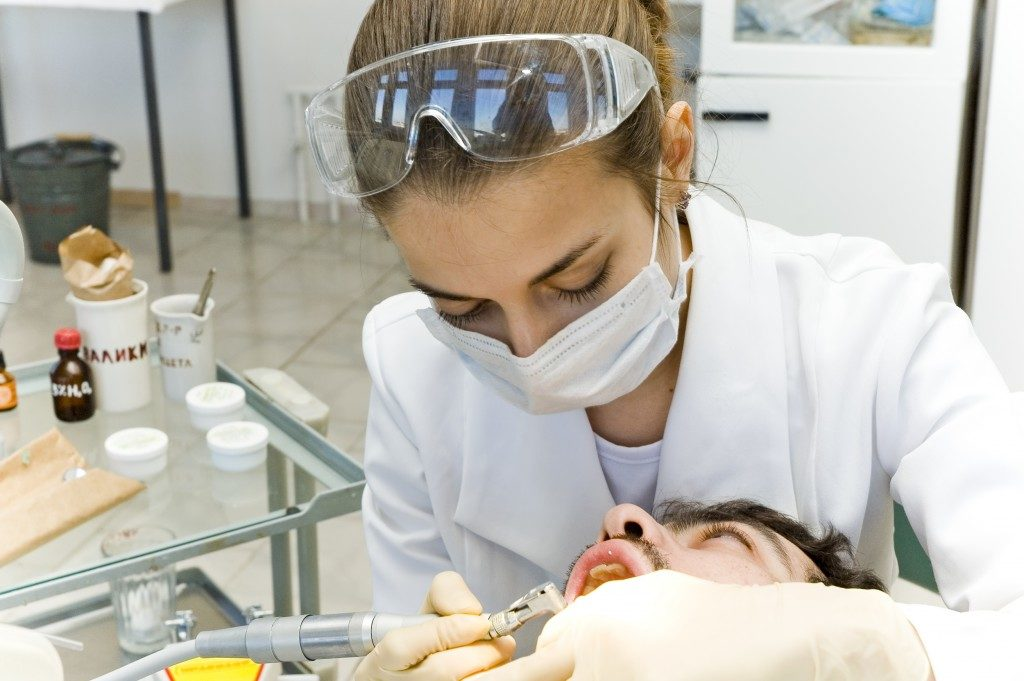 Man having a dental appointment