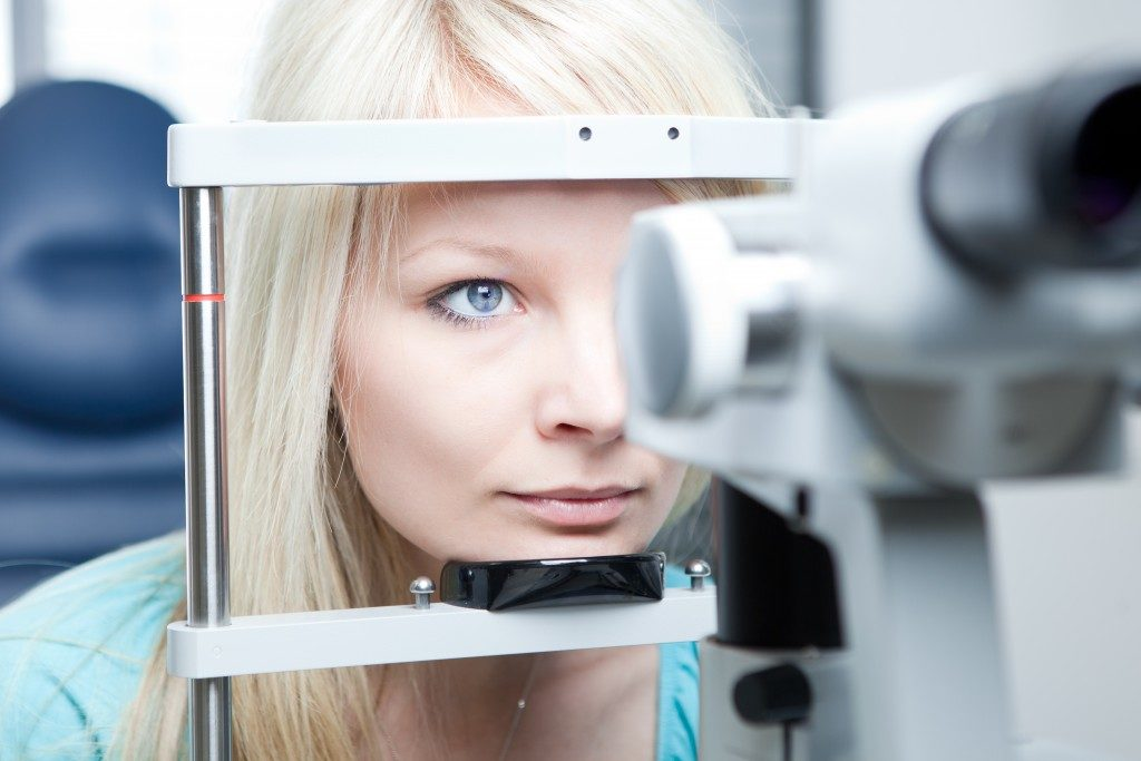 woman having her eye checked