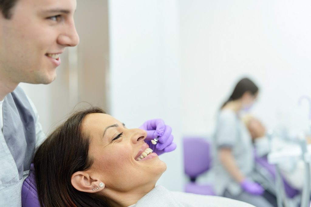 smiling woman at the dental clinic