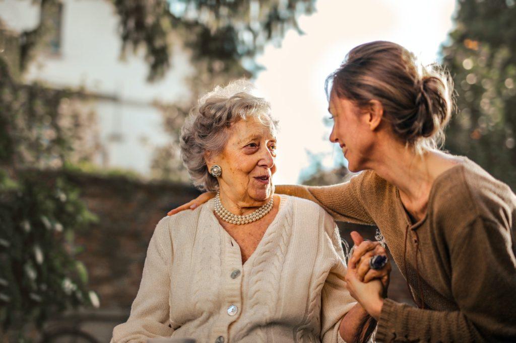 elderly talking