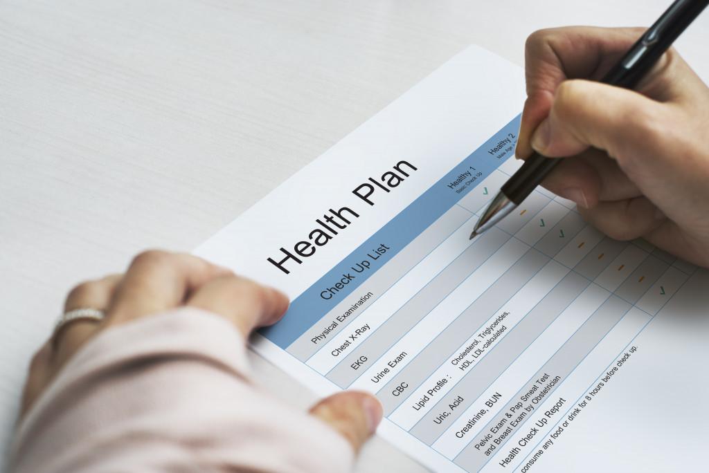 woman making a health plan